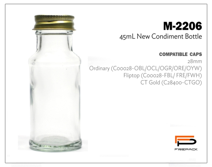 new condiment bottle 45ml m2206
