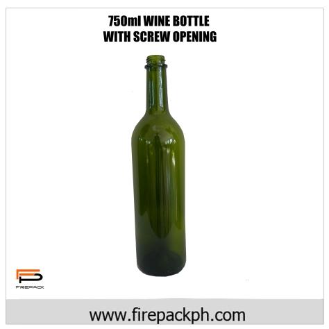 750ml Wine bottle with screw finish