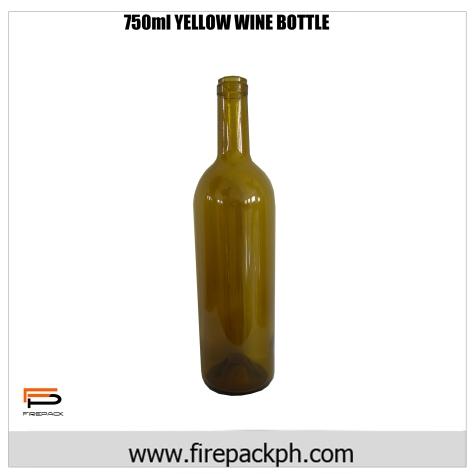 750ML yellow wine bottle