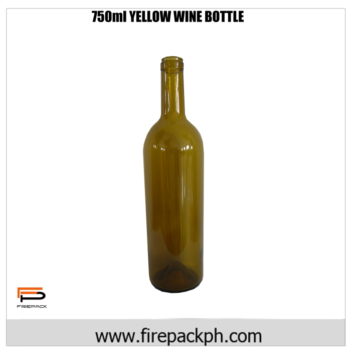 750ML yellow wine bottle