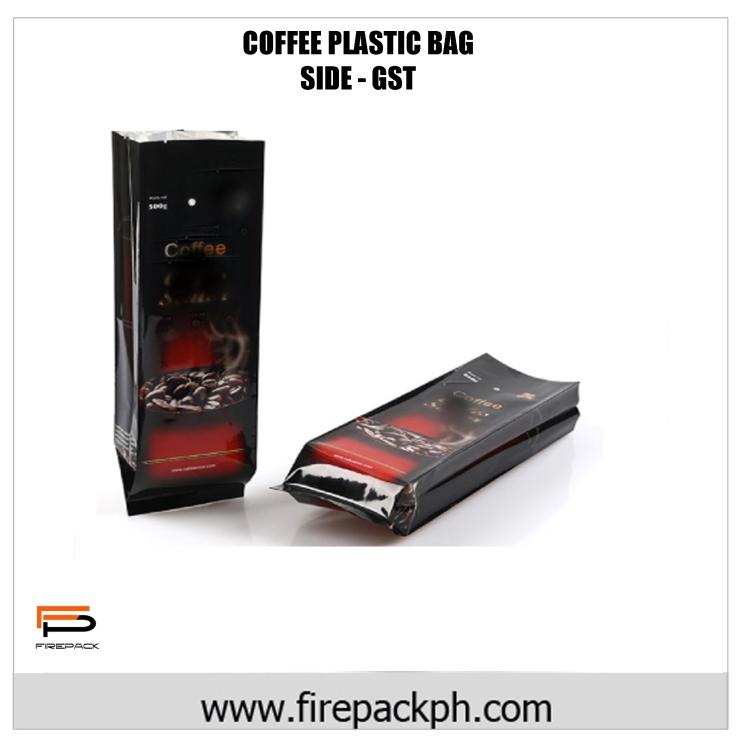 coffe plastic bag laminated side guset