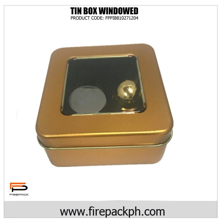 custom tin box gold window