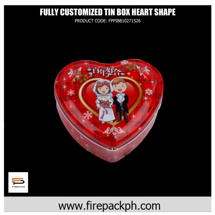 customized tin box heart shape