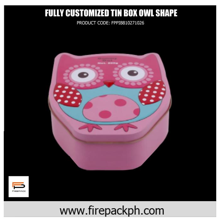 customized tin box owl shape