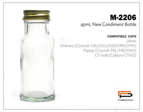 new condiment bottle 45ml m2206