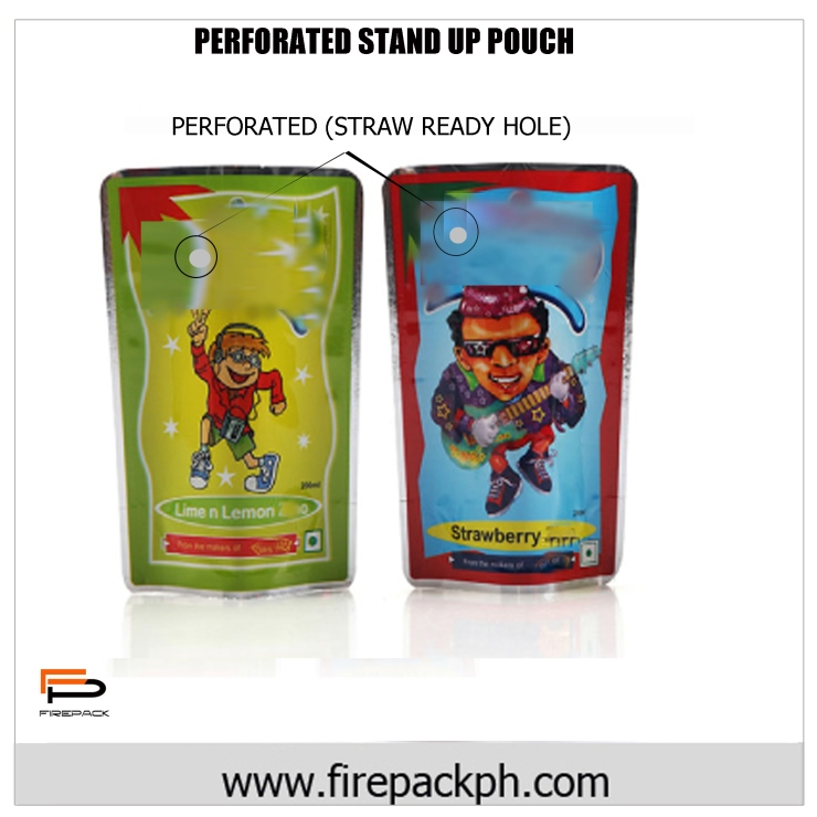 PERFORATED READY STRAW STAND UP POUCH