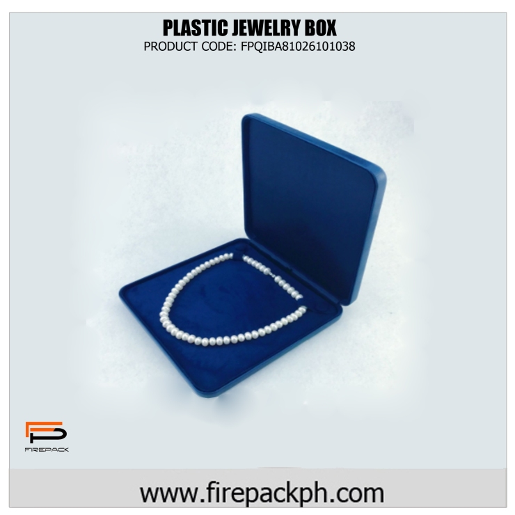 plastic jewelry box blue square