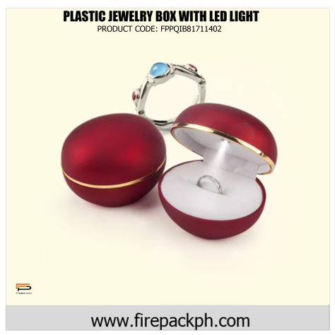 plastic jewelry box with led light blue red