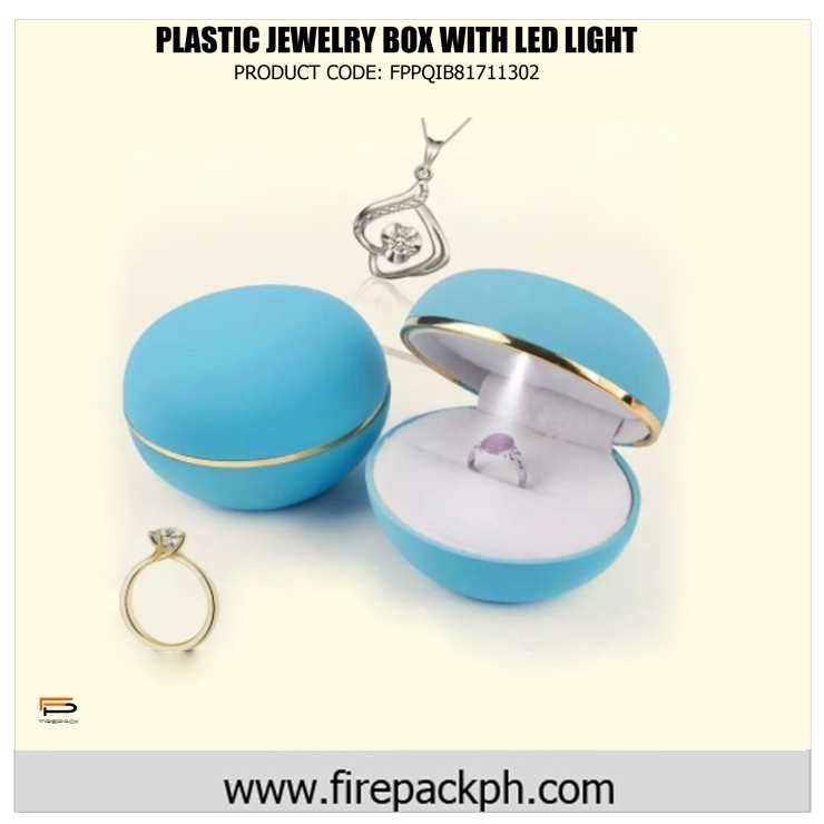 plastic jewelry box with led light blue