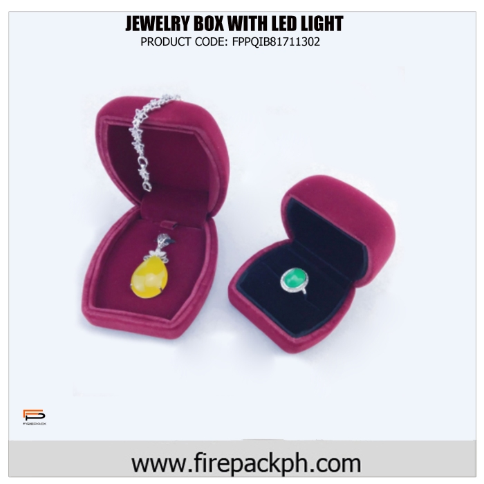 plastic jewelry box with led light maroon