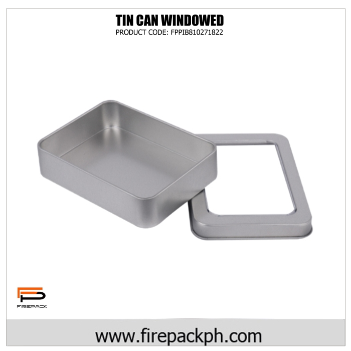 rectangular tin can with window full
