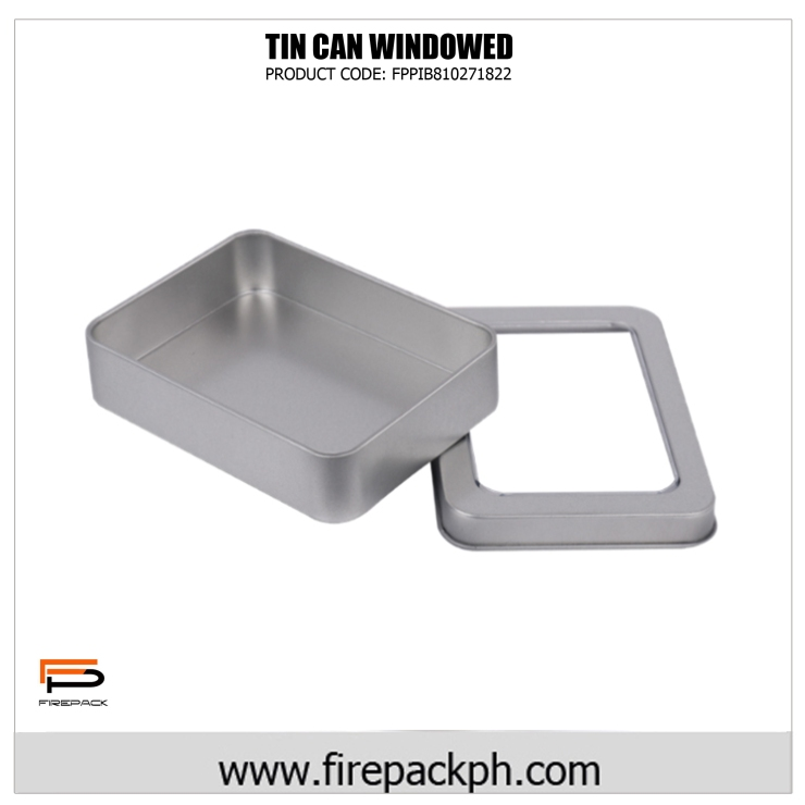 rectangular tin can with window full