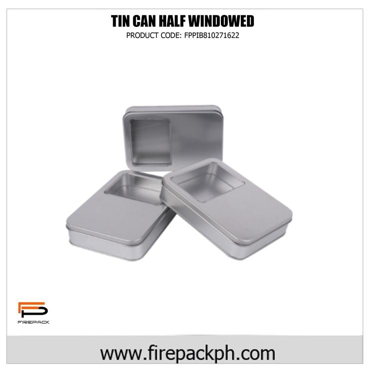 rectangular tin can with window