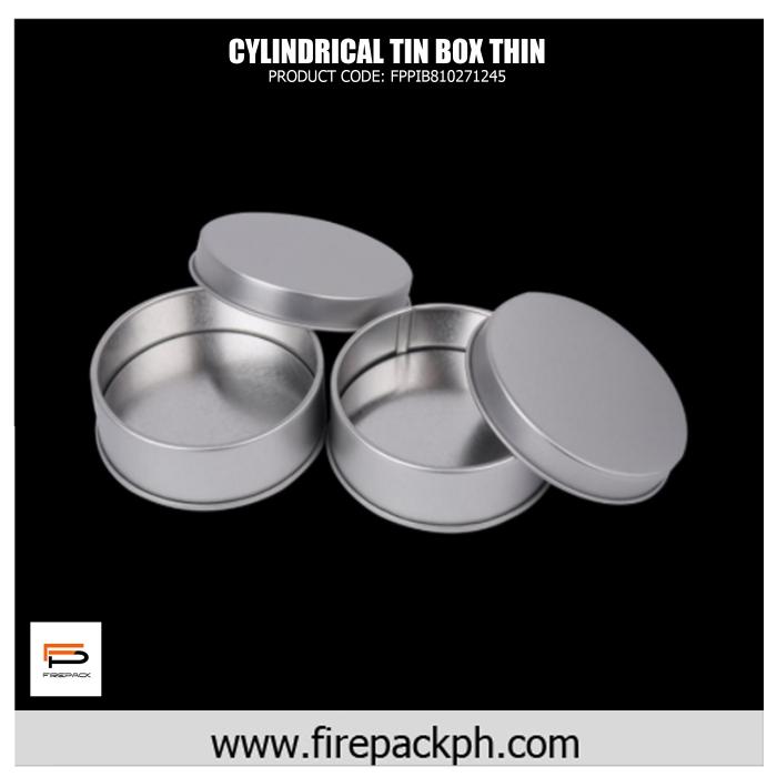 round tin box silver