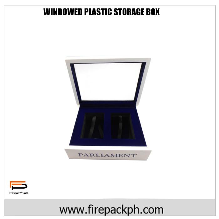 windowed plastic storage box