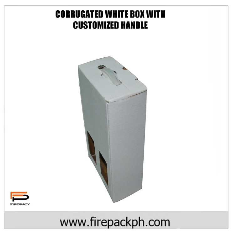 CORRUGATED WHITE BOX WITH HANDLE
