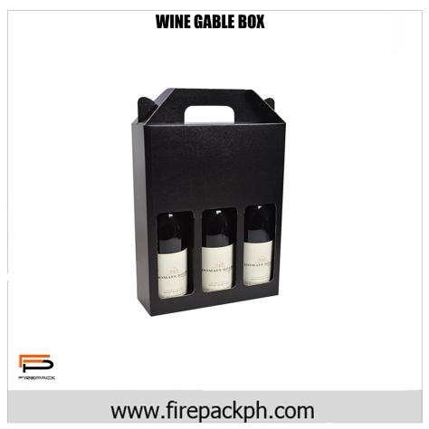 wine box 3 bottle gable box
