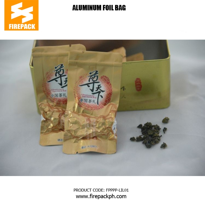 100g Bottom Gusset Aluminum Foil Bags , Laminated Foil Stand Up Vacuum Pouches firepack manila
