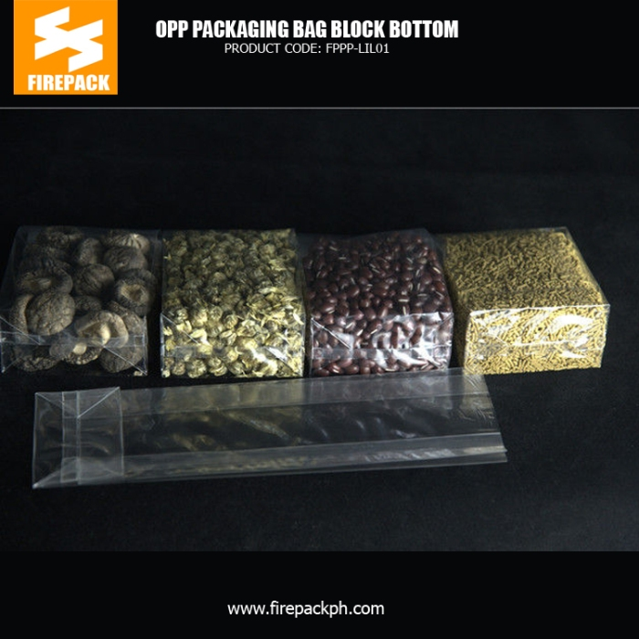 40 Micron OPP Block Bottom Packaging Pouches With Customized Printing bahrain plastic