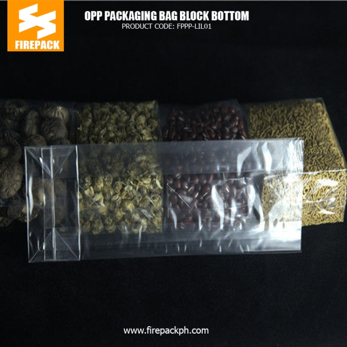 40 Micron OPP Block Bottom Packaging Pouches With Customized Printing dubai supplier