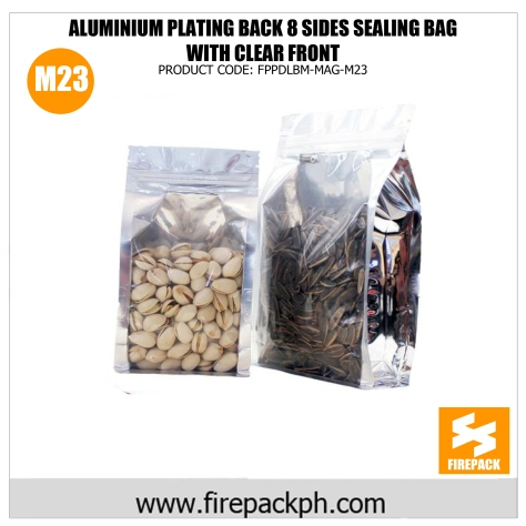 aluminum plating back 8 sides sealing bag with clear front supplier m23