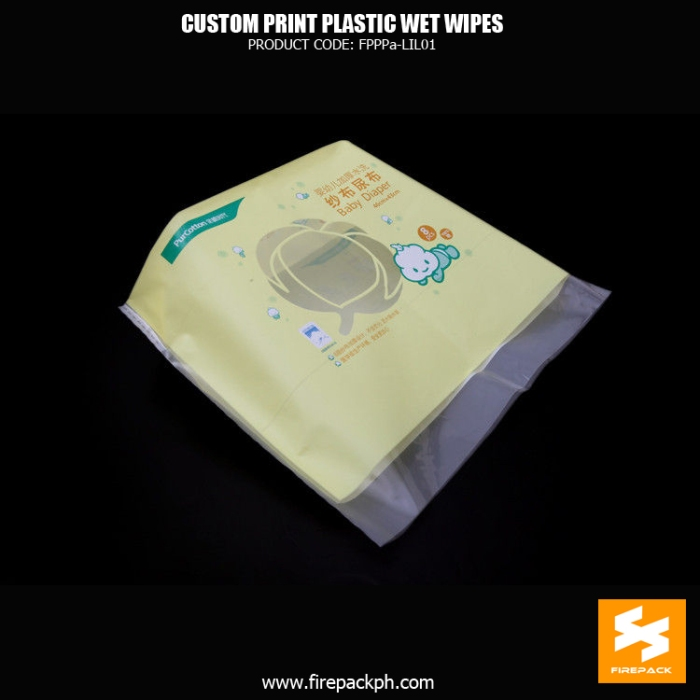 Baby Cleaning Side Gusset Wet Wipes Packaging With Open Label firepack manila
