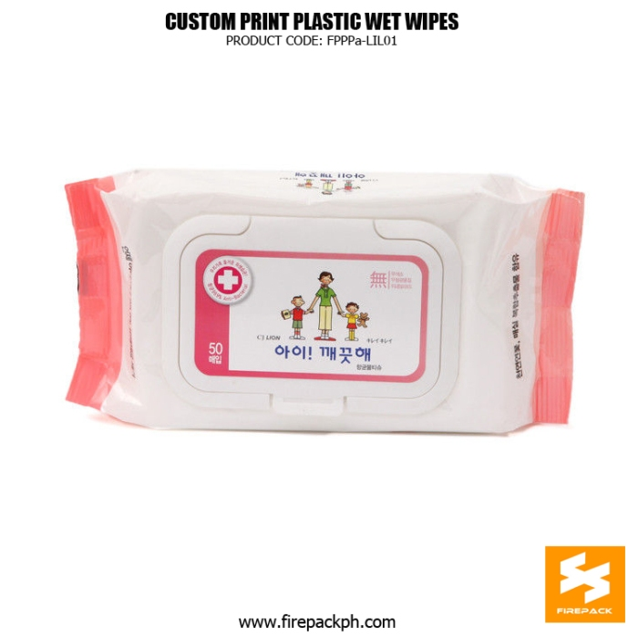 Back Seal Side Gusset Wet Tissue Packaging With Adhesive Sticker firepack dubai