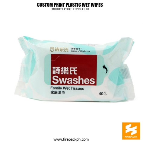 Back Seal Side Gusset Wet Tissue Packaging With Adhesive Sticker supplier manila