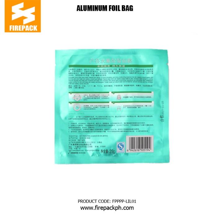 BOPP - PE Aluminum Foil Bags With Heat Sealing For Facial Mask firepack cebu