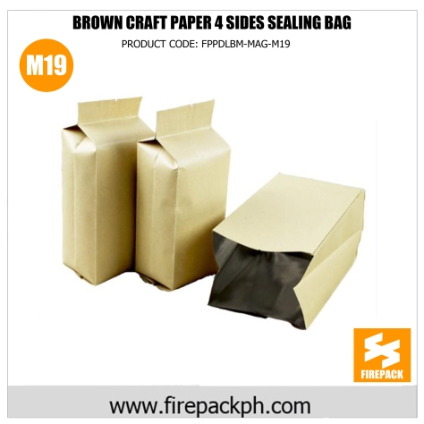 brown craft paper 4 sides sealing bag m19