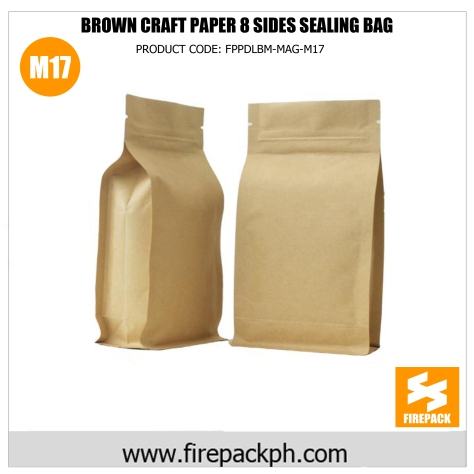 brown craft paper 8 sides sealing bag pouch supplier m17