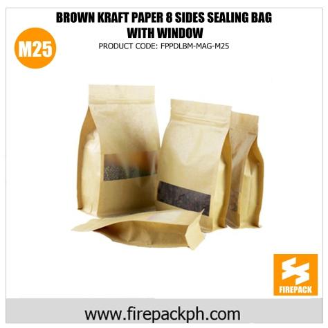 brown kraft paper 8 sides sealing bag with window m25