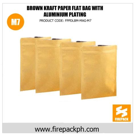 brown kraft paper flat bag with gold aluminum plating supplier m7