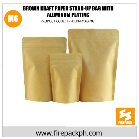 brown kraft paper stand up bag with gold aluminum plating supplier m6