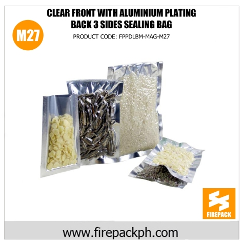 clear front with aluminium plating back 3 sides sealing bag m27
