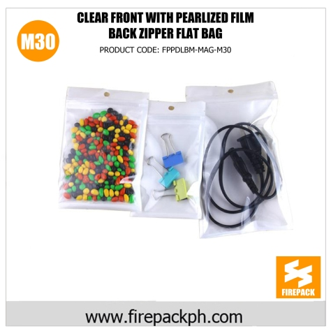 clear front with pearlized film back zipper flat bag m30