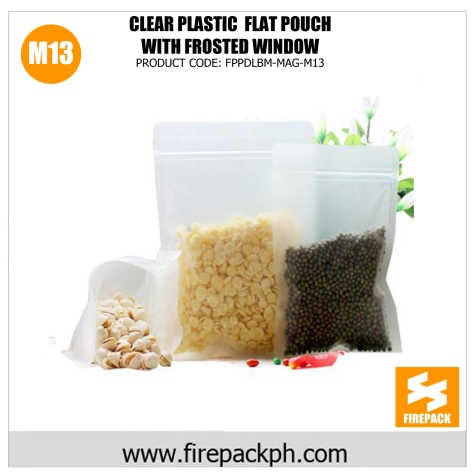 clear plastic flat pouch with frosted window m13