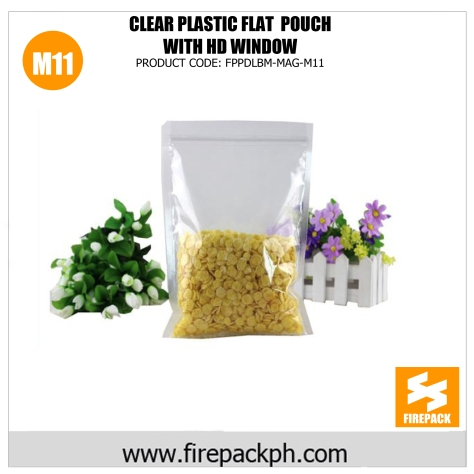 clear plastic flat pouch with hd window m11