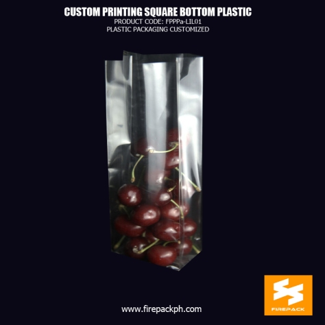 Clear Plastic Square Bottom Cellophone Bags Customized For Packaging Biscuits firepack
