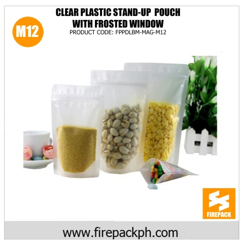 clear plastic stand up pouch with frosted window m12