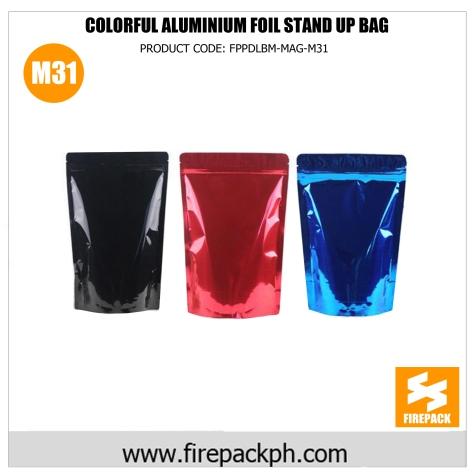 colorful auminium foil stan up bag m31