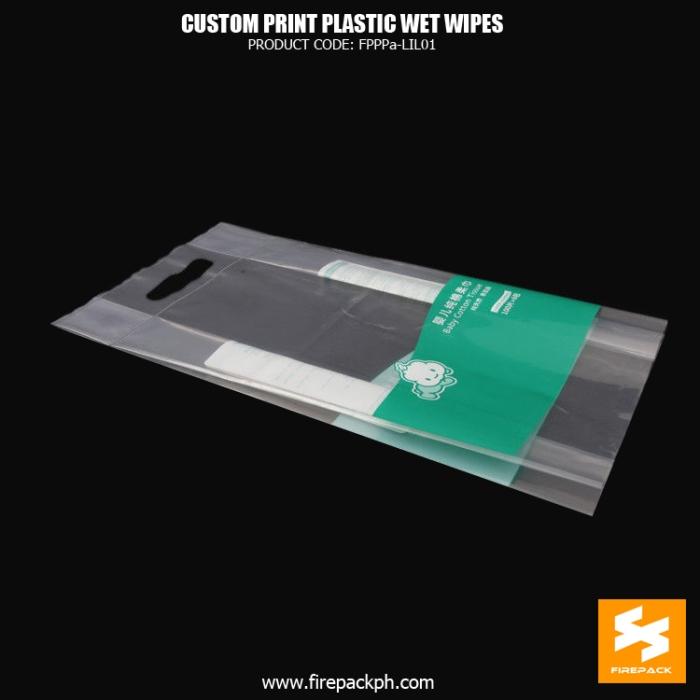 Custom Clear Plastic Wet Wipes Packaging With Die-Cut Handle firepack