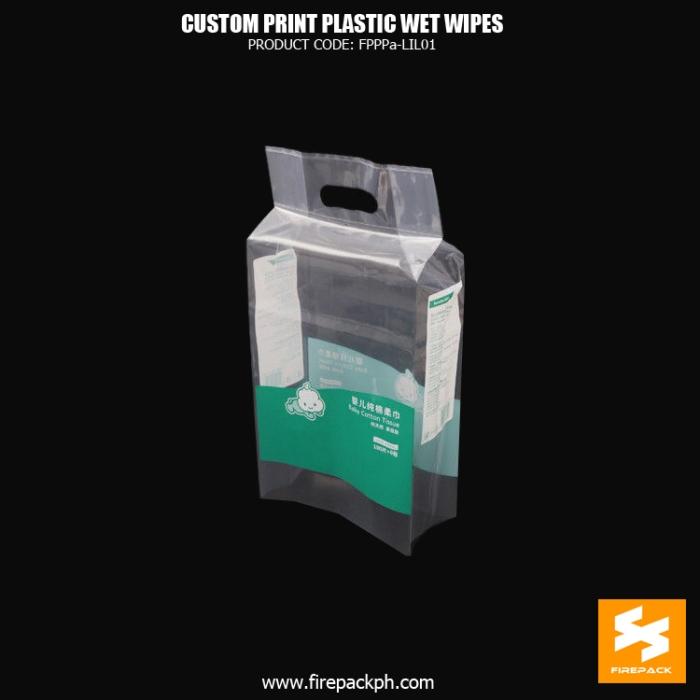 Custom Clear Plastic Wet Wipes Packaging With Die-Cut Handle supplier