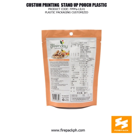 Custom printed Moisture Proof Stand Up Pouches For Snack Food supplier firepack