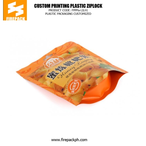 Custom Printed Stand Up Plastic Ziplock Bags For Dried Fruit firepack manila