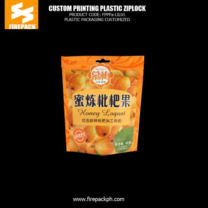 Custom Printed Stand Up Plastic Ziplock Bags For Dried Fruit firepack