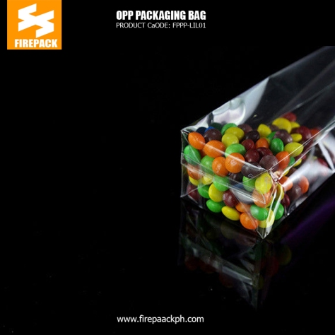 Custom recycled transparent OPP Packaging Bags clothes square buttom bag manila supplier