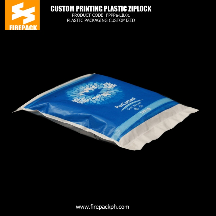 Customize Colorful Plastic Zipper Bags For Packing Soft Wipes firepack manila