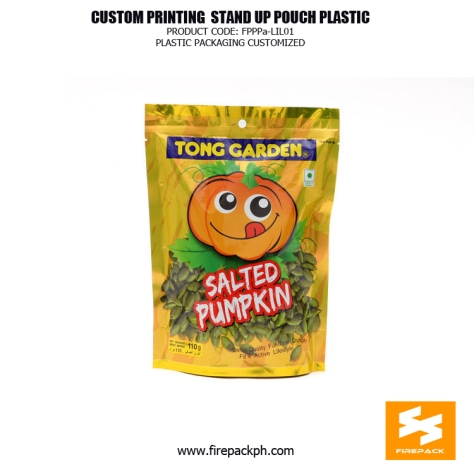 Customize Laminated Plastic Stand Up Bag For Pumpkin Snacks manilla supplier