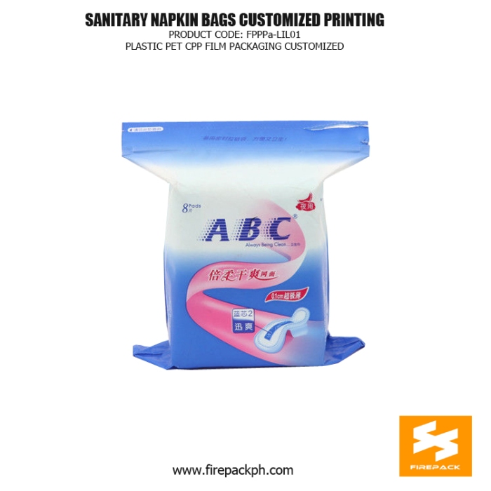 Customize Printed Sanitary Napkin Disposal Bags , Pet Cpp Film Packaging Bag firepack kuwait